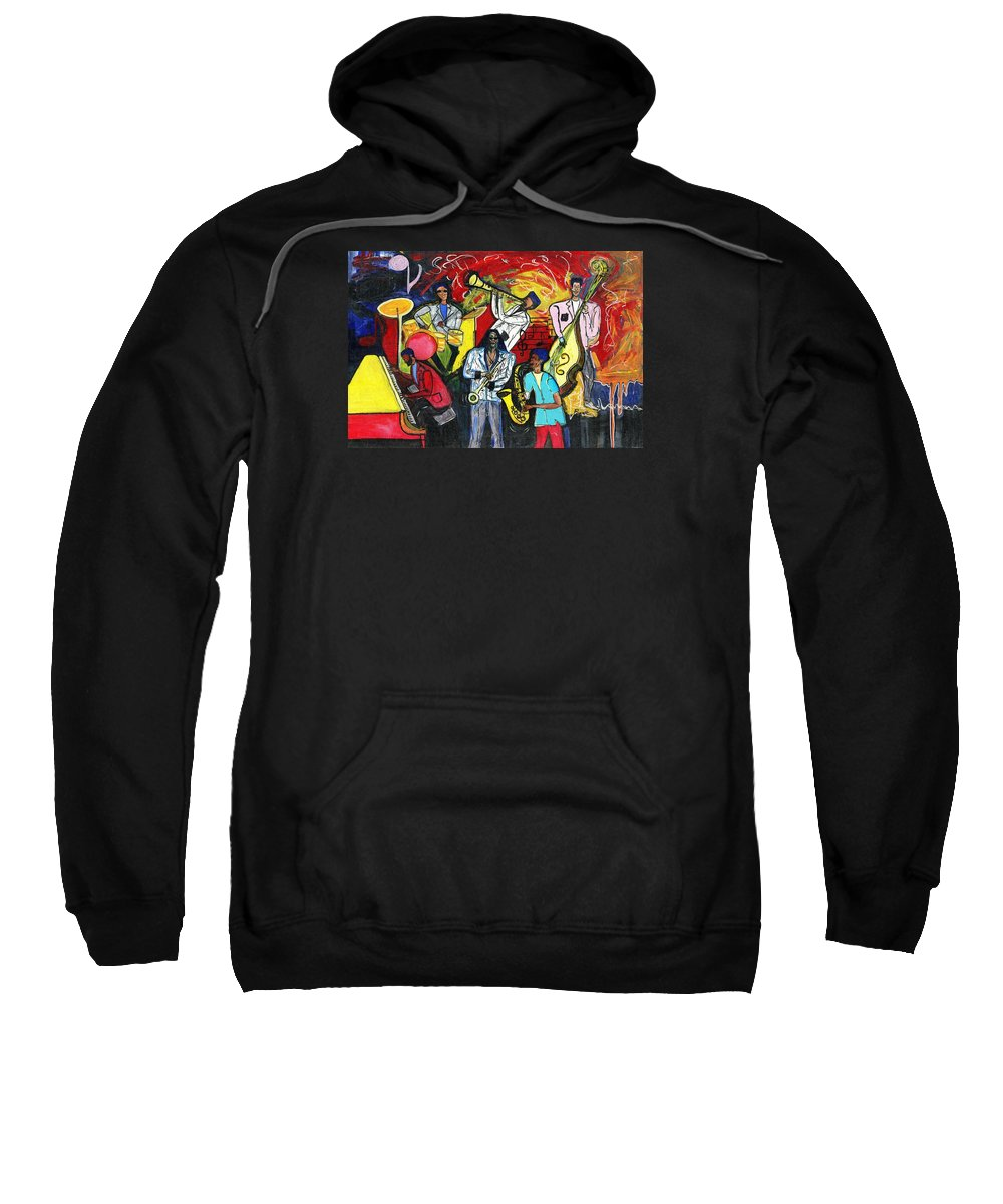 Everett Spruill Sweatshirt featuring the painting Jazz Abstracts by Everett Spruill