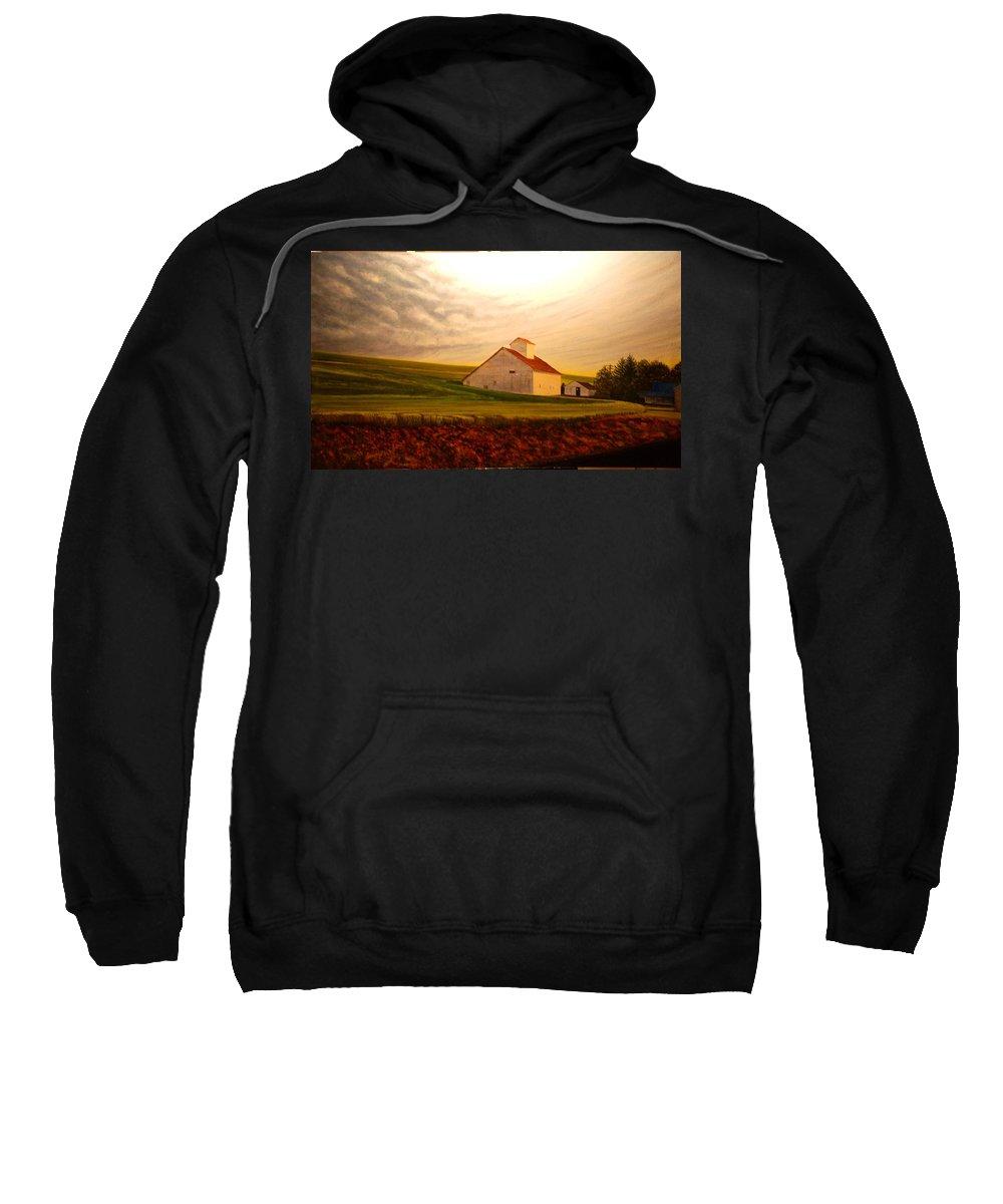 Palouse Sweatshirt featuring the painting Kamiak Homestead by Leonard Heid
