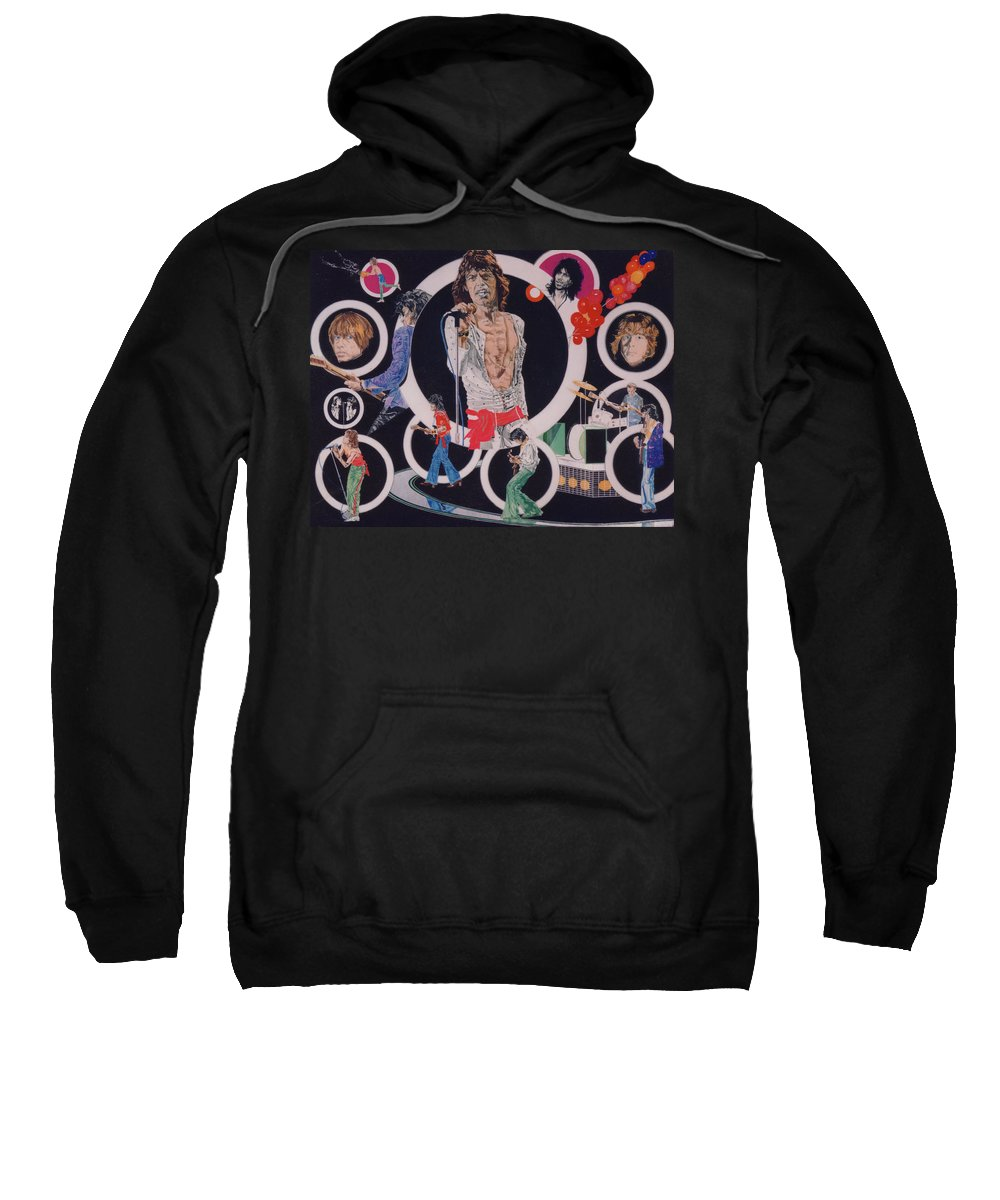 The Rolling Stones Sweatshirt featuring the drawing Ladies And Gentlemen - The Rolling Stones by Sean Connolly