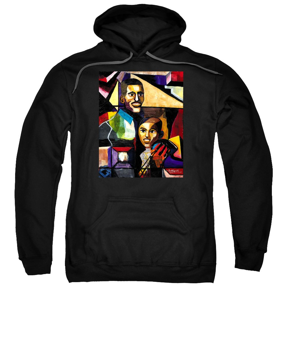 Everett Spruill Sweatshirt featuring the painting Me and Dad by Everett Spruill