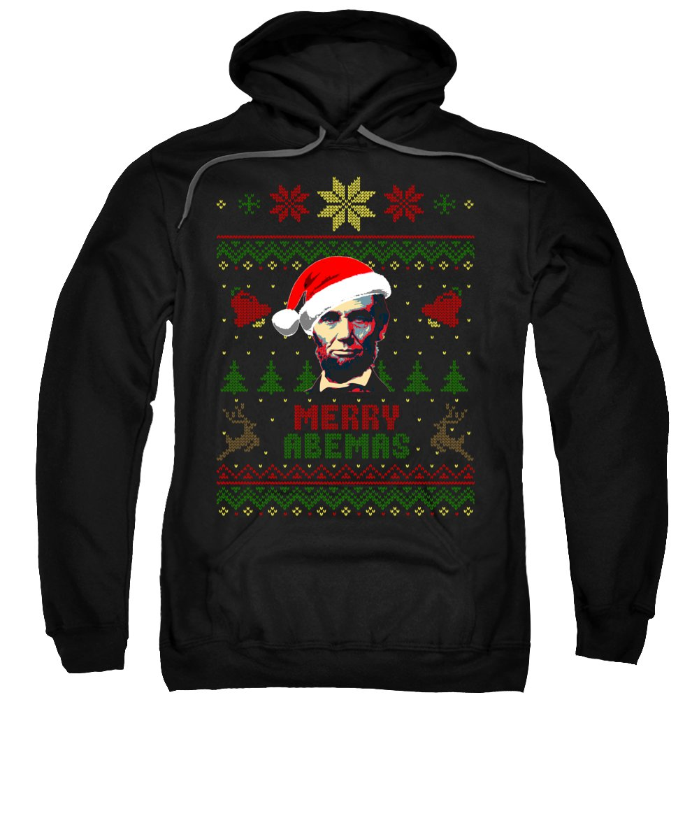 Santa Sweatshirt featuring the digital art Merry Abemas Abraham Lincoln Christmas by Filip Schpindel