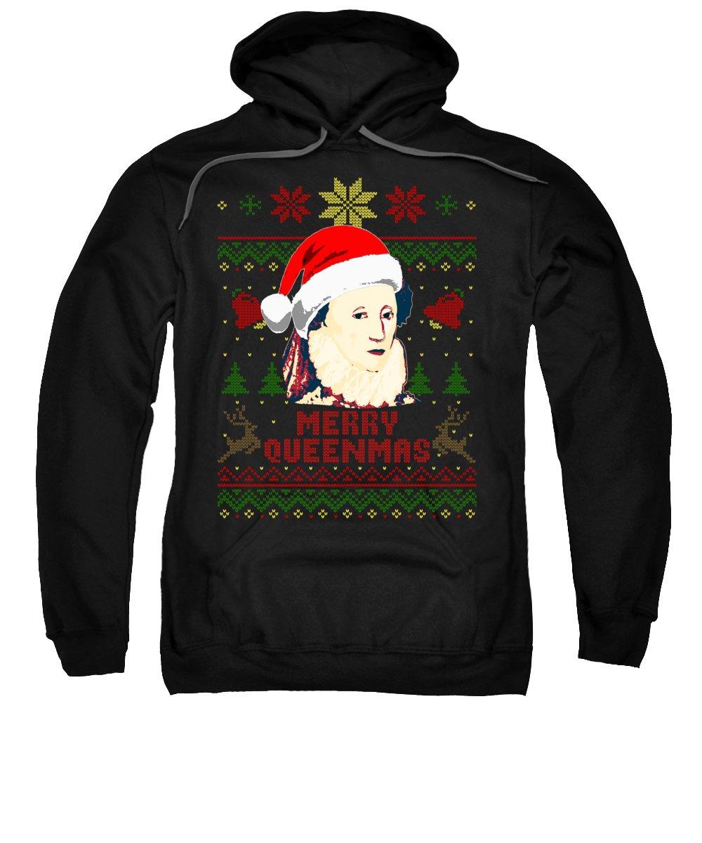 Santa Sweatshirt featuring the digital art Merry Queenmas Queen Elizabeth by Filip Schpindel