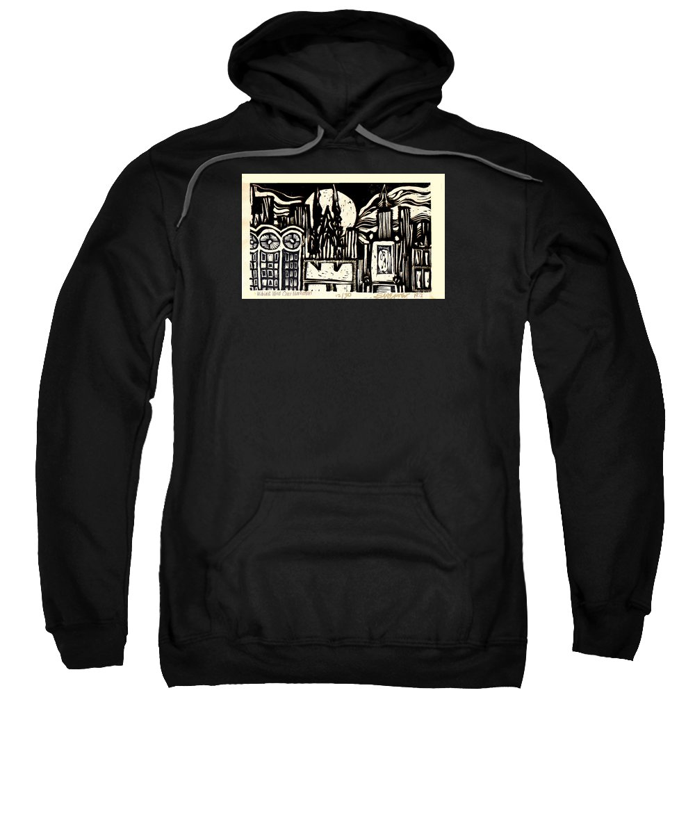 Bizarre Sweatshirt featuring the mixed media Midnight Wind Over Manhattan by Seth Weaver