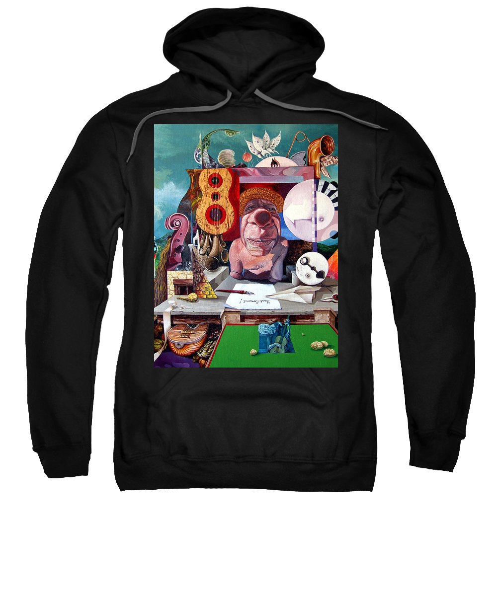 Surrealism Sweatshirt featuring the painting Pablos Last Concert by Otto Rapp