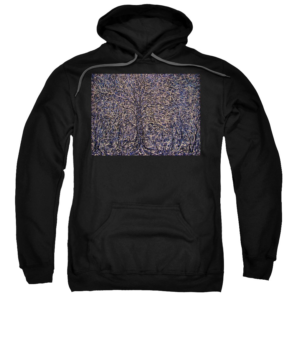 Landscape Sweatshirt featuring the painting Quiet Snowfall. by Natalie Holland