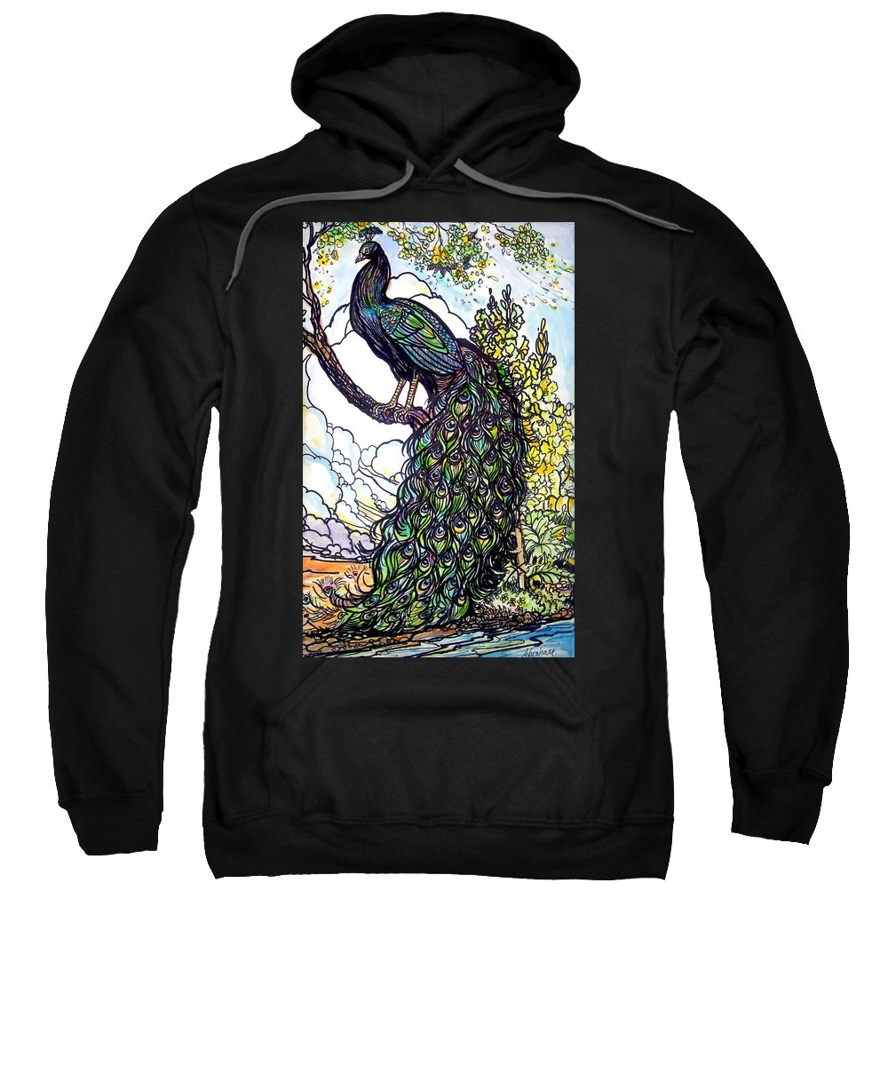 Peacock Sweatshirt featuring the painting Rainbow by Jose Manuel Abraham