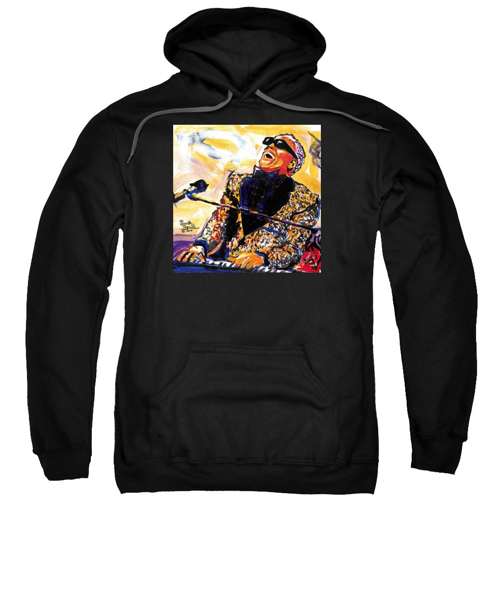 Everett Spruill Sweatshirt featuring the painting Ray Charles by Everett Spruill