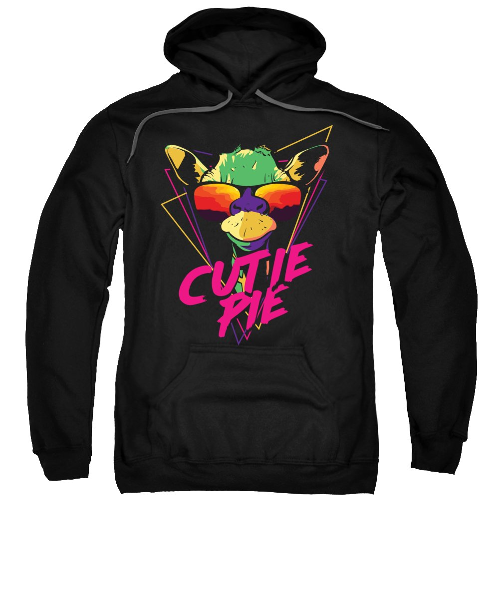 Colorful Sweatshirt featuring the digital art Retro Giraffe Cutie Pie Cool Sunglasses by Jacob Zelazny