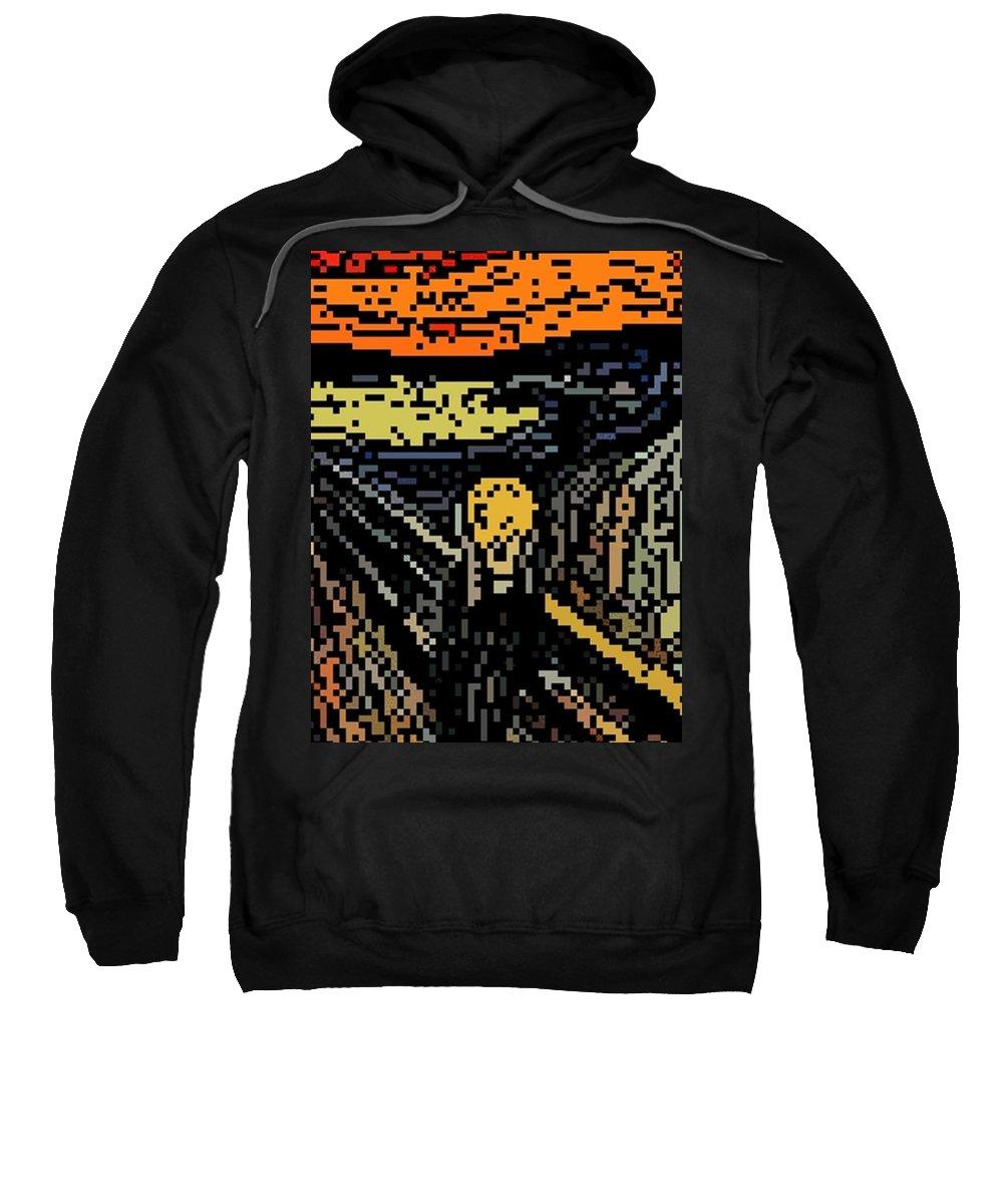 Scream Sweatshirt featuring the digital art Scream by 8 Bits Studio 8 Bit Scream