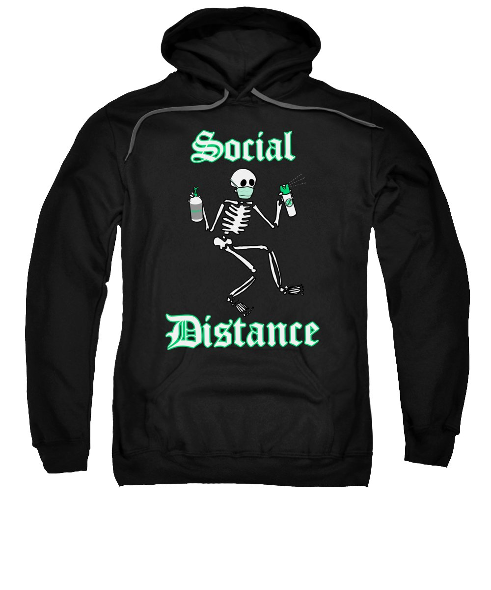 Virus Sweatshirt featuring the drawing Social Distance by Ludwig Van Bacon