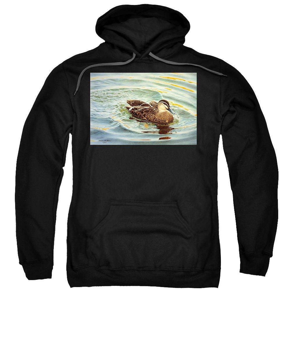 Watercolour Birds Sweatshirt featuring the painting Splash - Pacific Black Duck by Frances McMahon