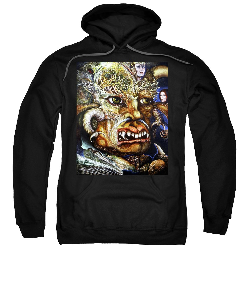 Surrealism Fantastic+realism Mythology Myth Beast Religion Sweatshirt featuring the painting The Beast Of Babylon II by Otto Rapp