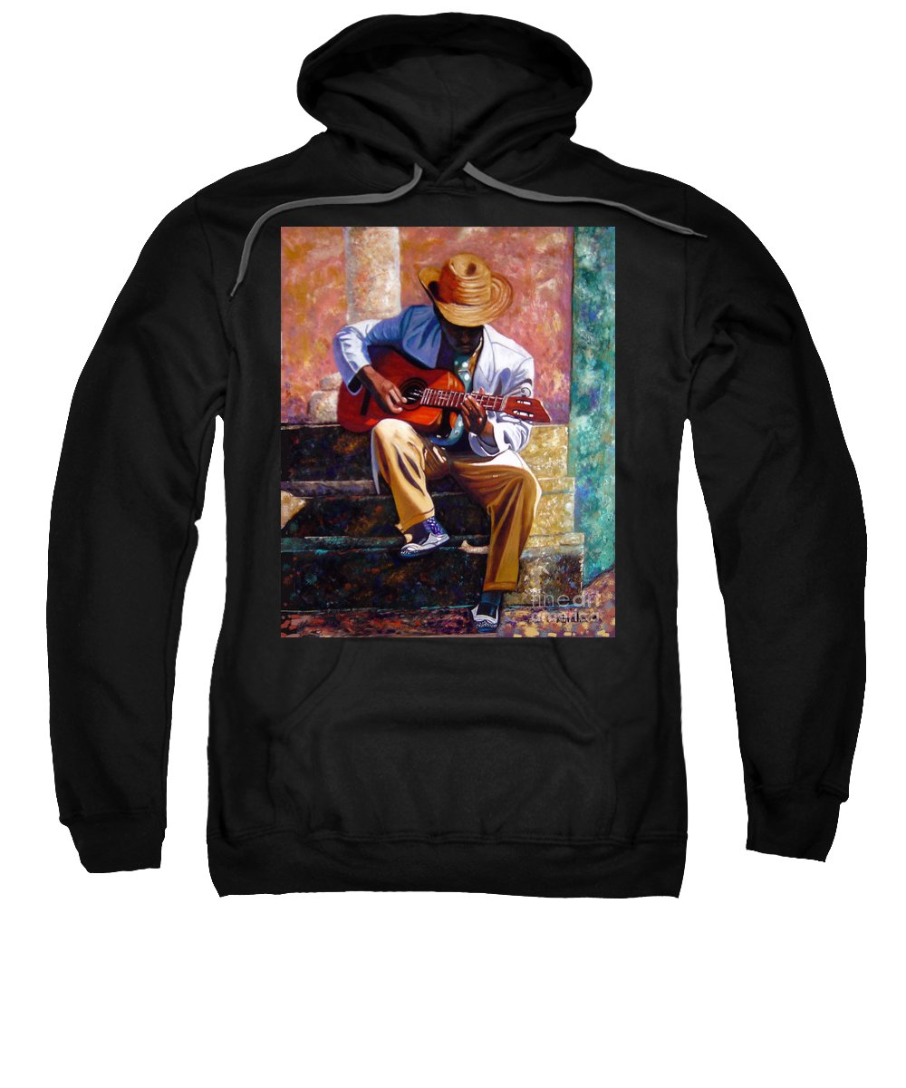 Cuban Art Sweatshirt featuring the painting The Guitar Player by Jose Manuel Abraham