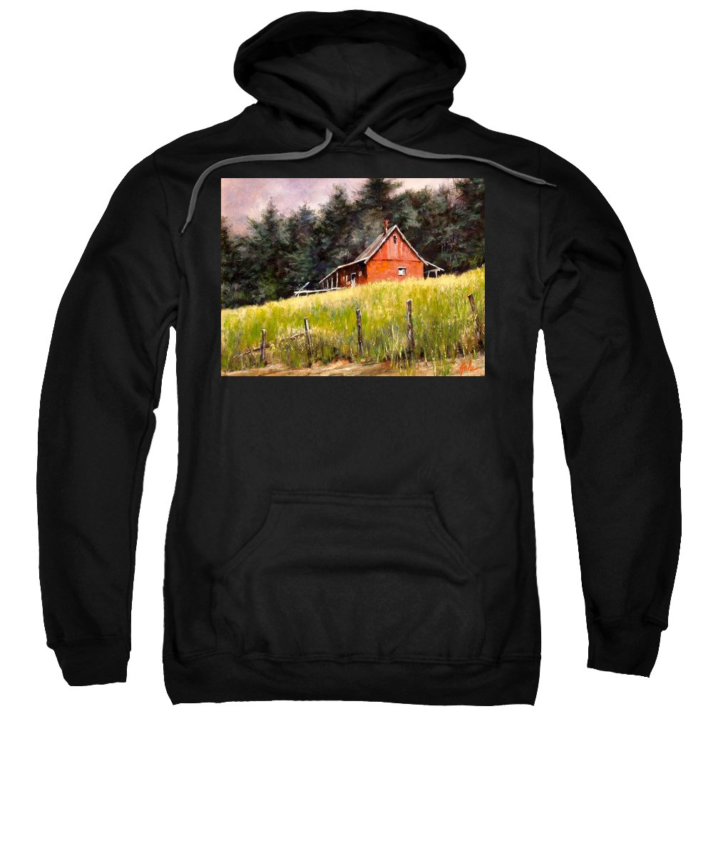 Landscape Sweatshirt featuring the painting The Red Coach Stop by Jim Gola
