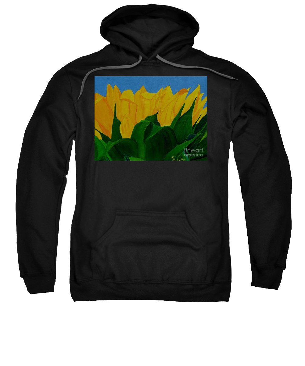 Sunflower Sweatshirt featuring the painting The Rising Sun by Anthony Dunphy