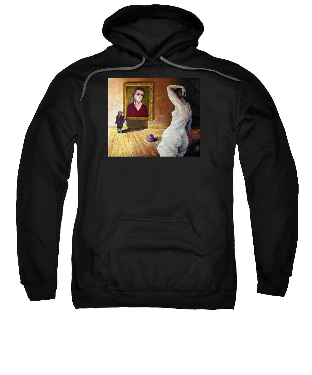 Surrealism Sweatshirt featuring the painting The Visitor by Otto Rapp
