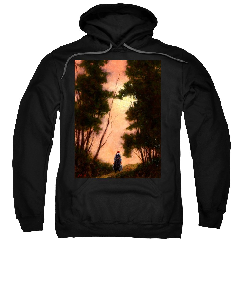 Landscape. Oil Painting Sweatshirt featuring the painting The Walk Home by Jim Gola