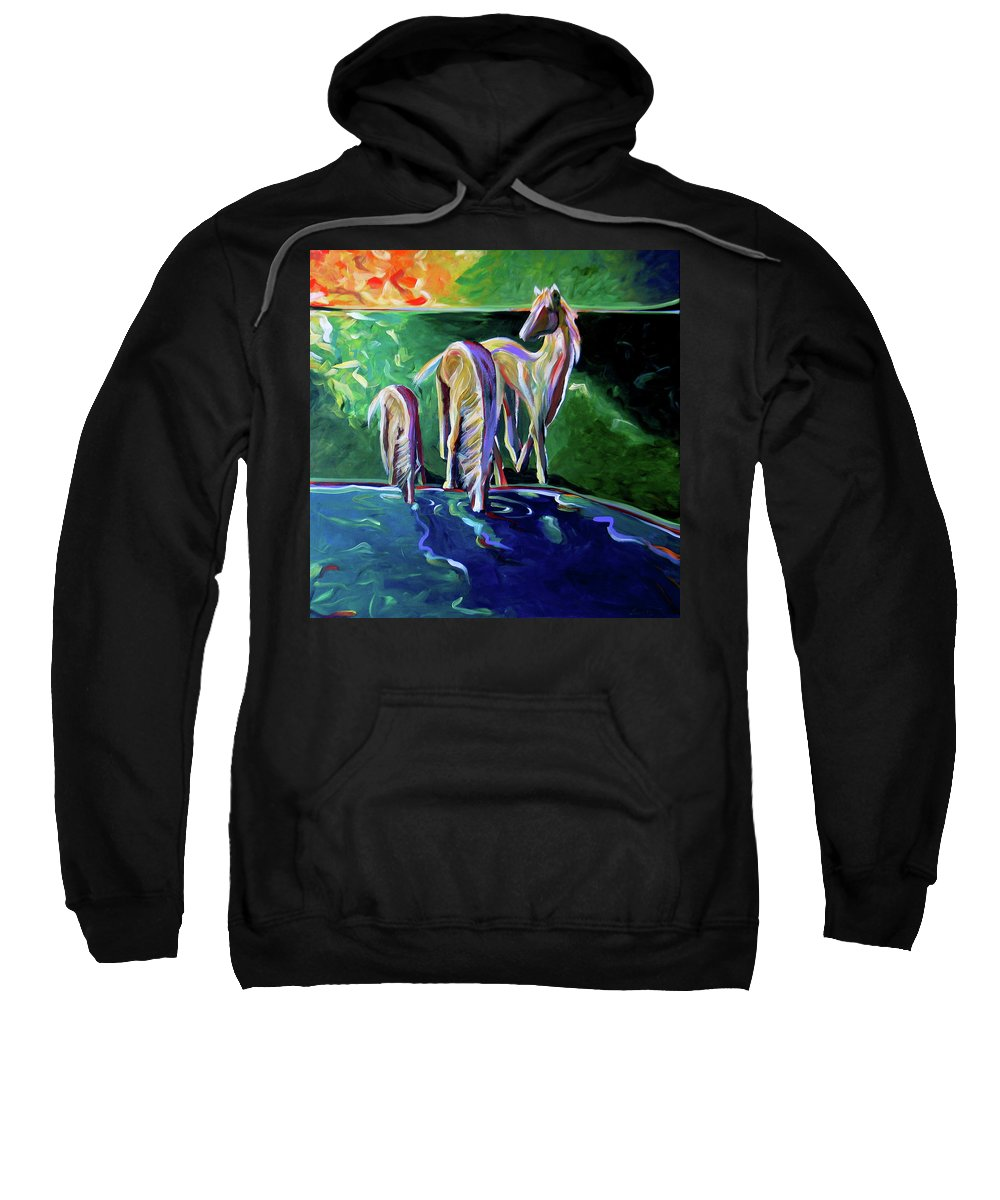 Abstract Horse Sweatshirt featuring the painting The Watering Hole by Lance Headlee