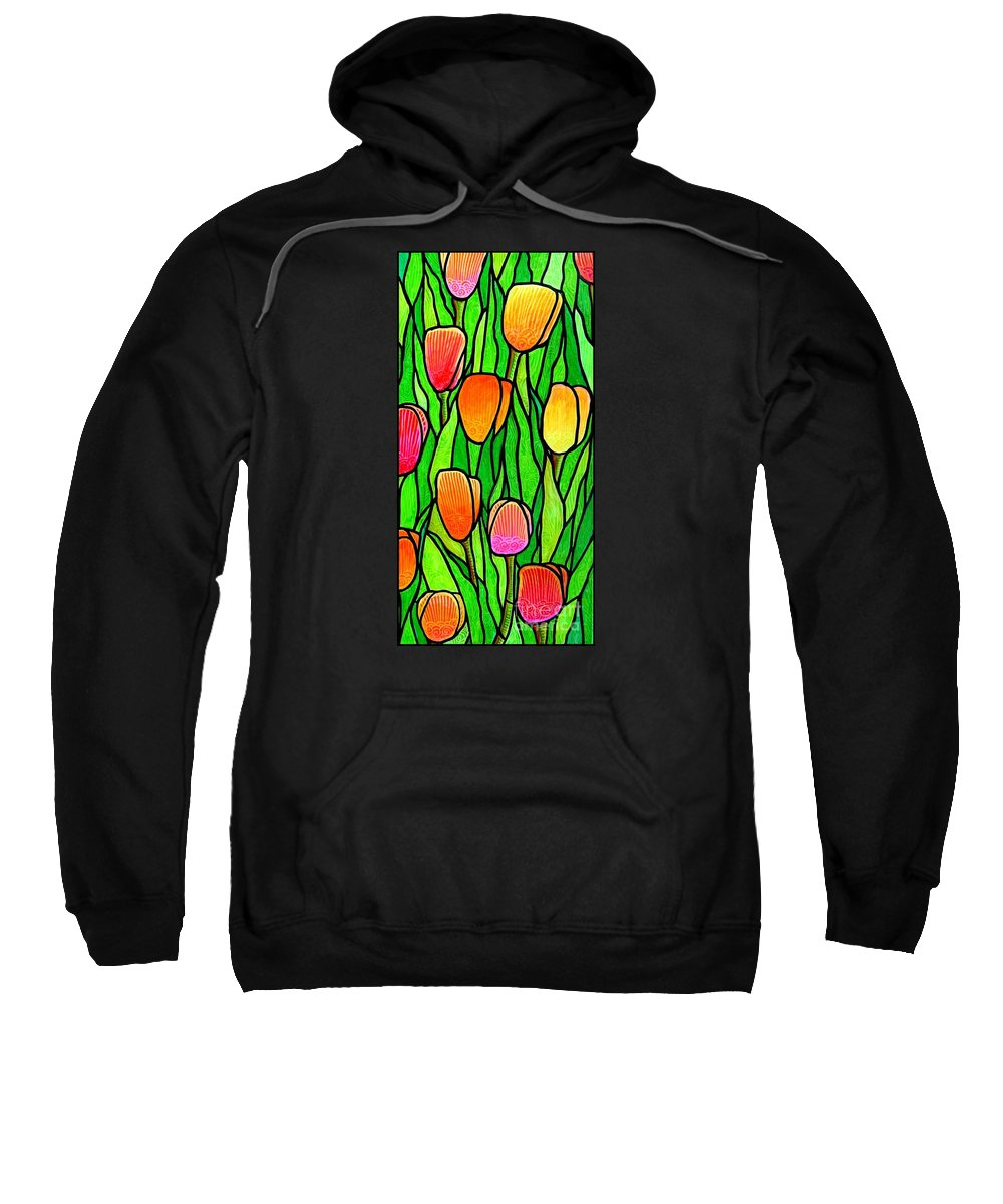 Tulips Sweatshirt featuring the painting Tulip Garden 2 by Jim Harris