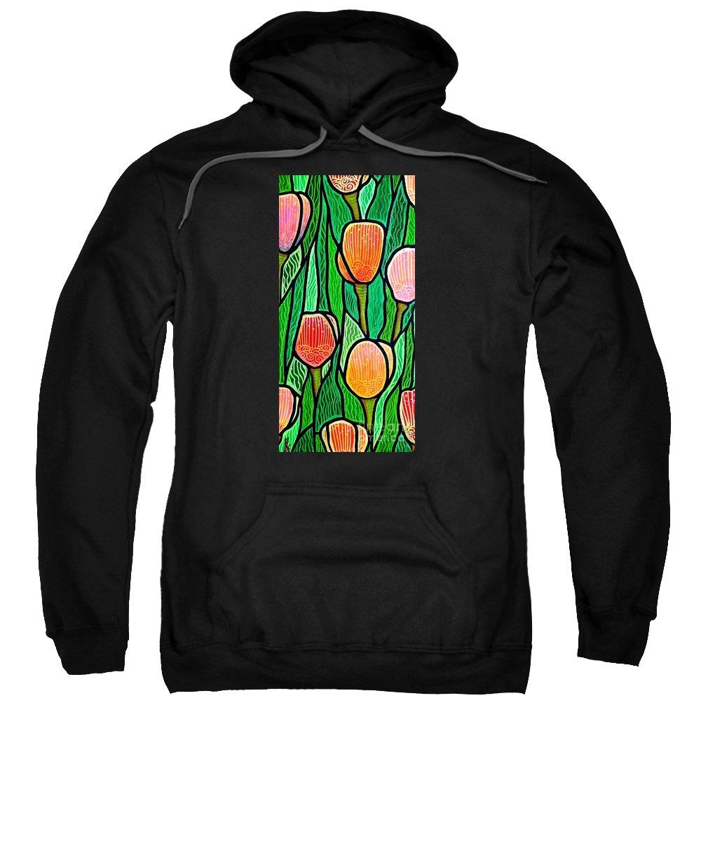 Tulips Sweatshirt featuring the painting Tulip Joy 3 by Jim Harris