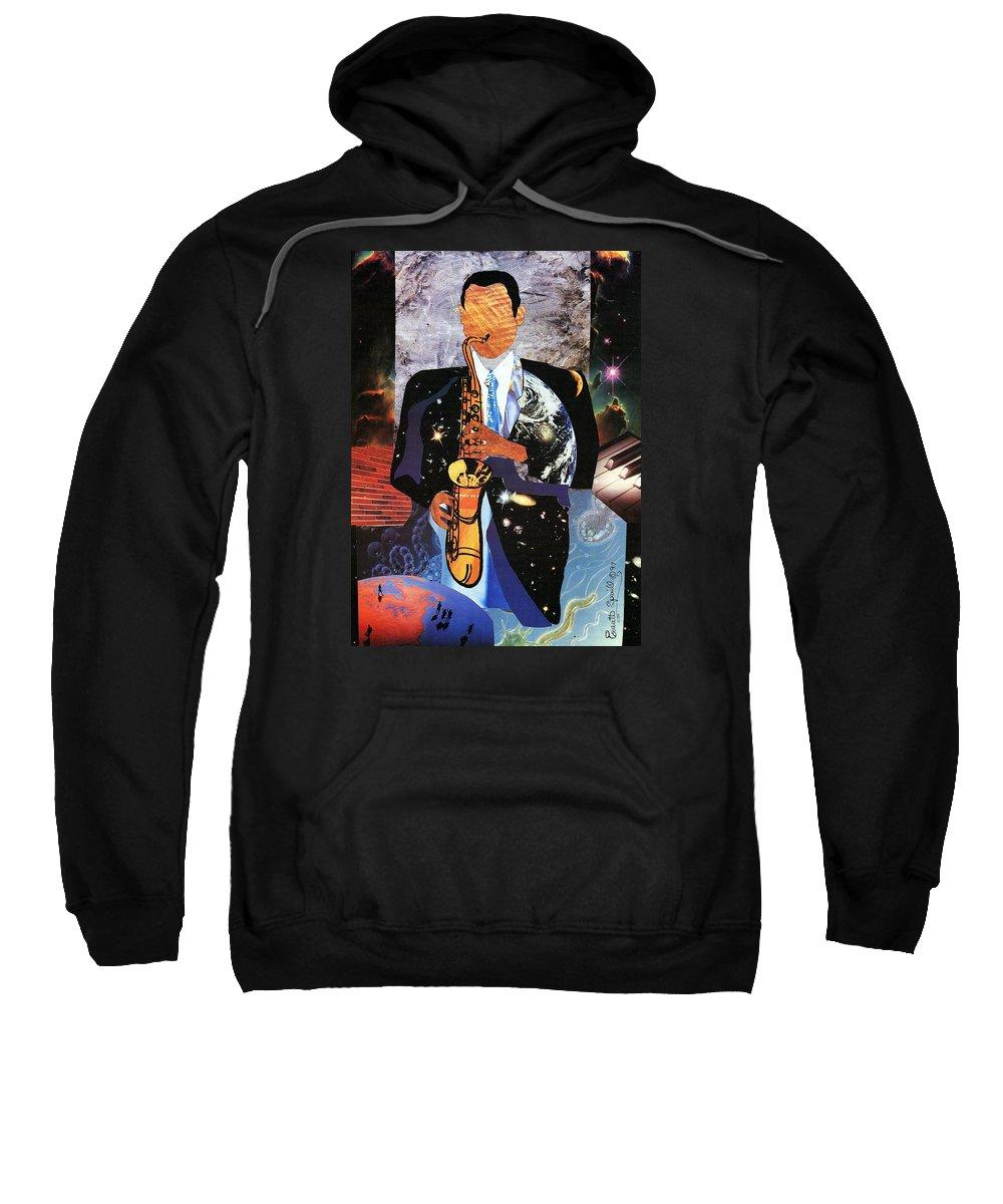 Everett Spruill Sweatshirt featuring the painting Universal Sax by Everett Spruill