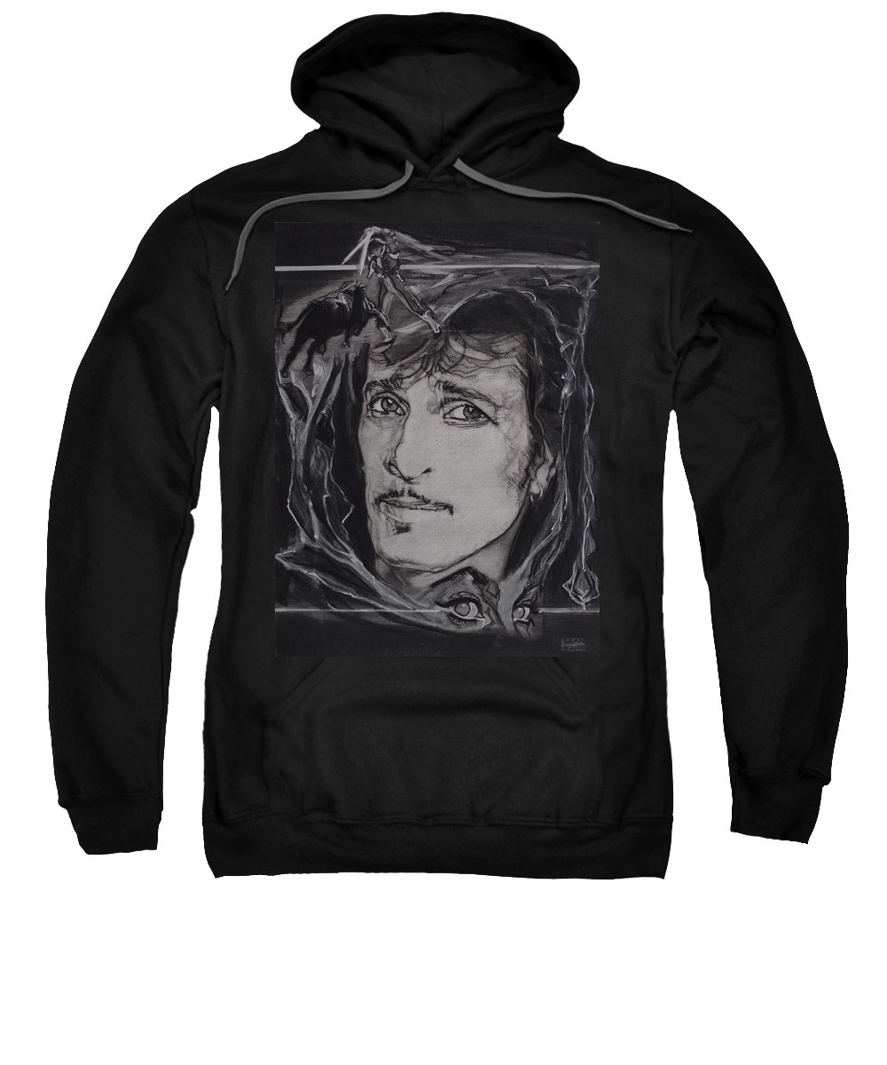Charcoal Pencil On Paper Sweatshirt featuring the drawing Willy DeVille - Coup de Grace by Sean Connolly