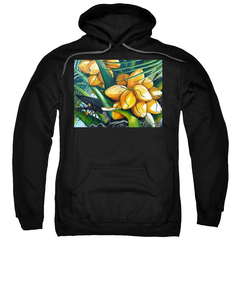 Coconut Painting Botanical Painting  Tropical Painting Caribbean Painting Original Painting Of Yellow Coconuts On The Palm Tree Sweatshirt featuring the painting Yellow Coconuts by Karin Dawn Kelshall- Best