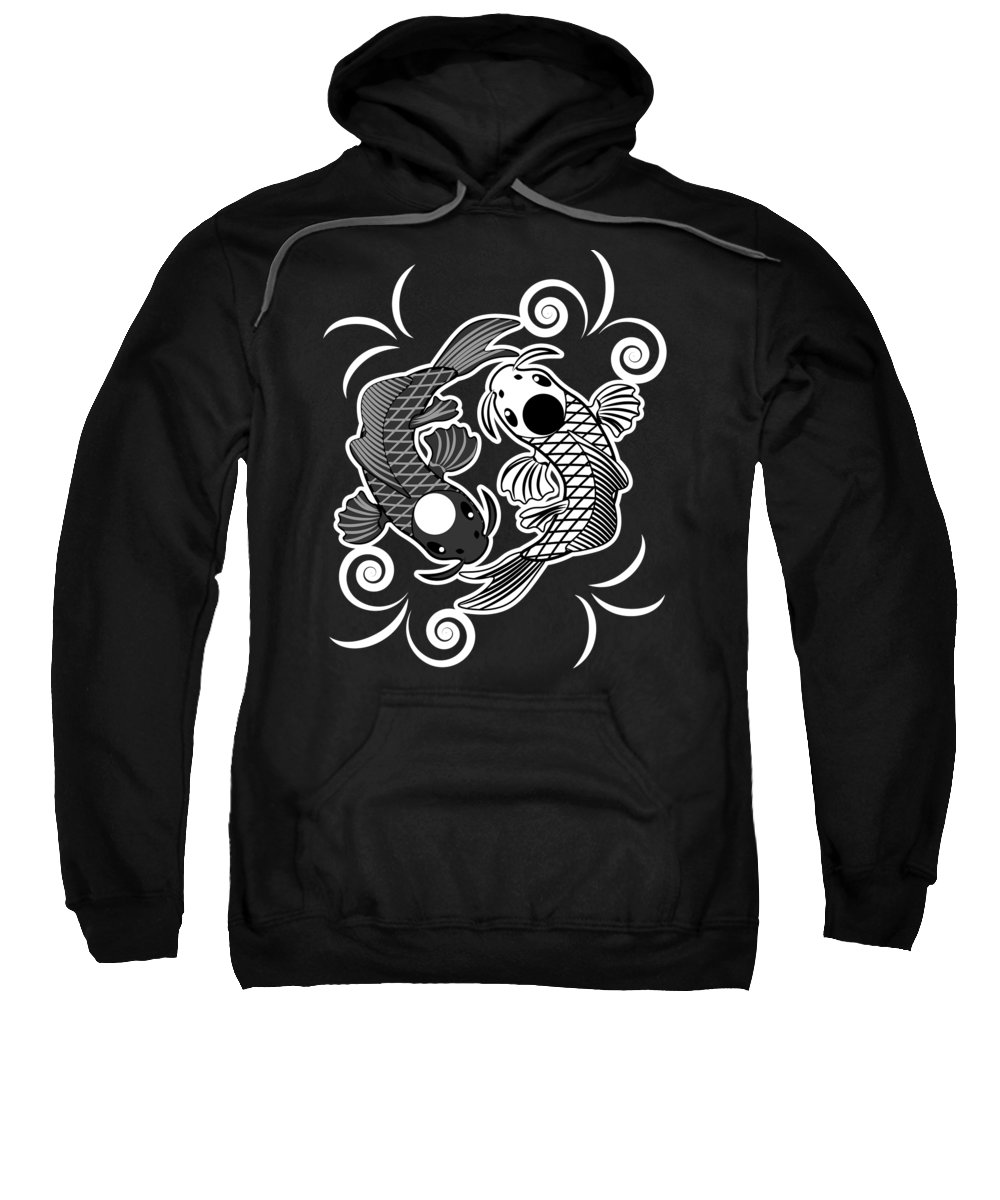 Fish Sweatshirt featuring the digital art Ying Yang Koi Carp Karma Good And Evil Gift by J M