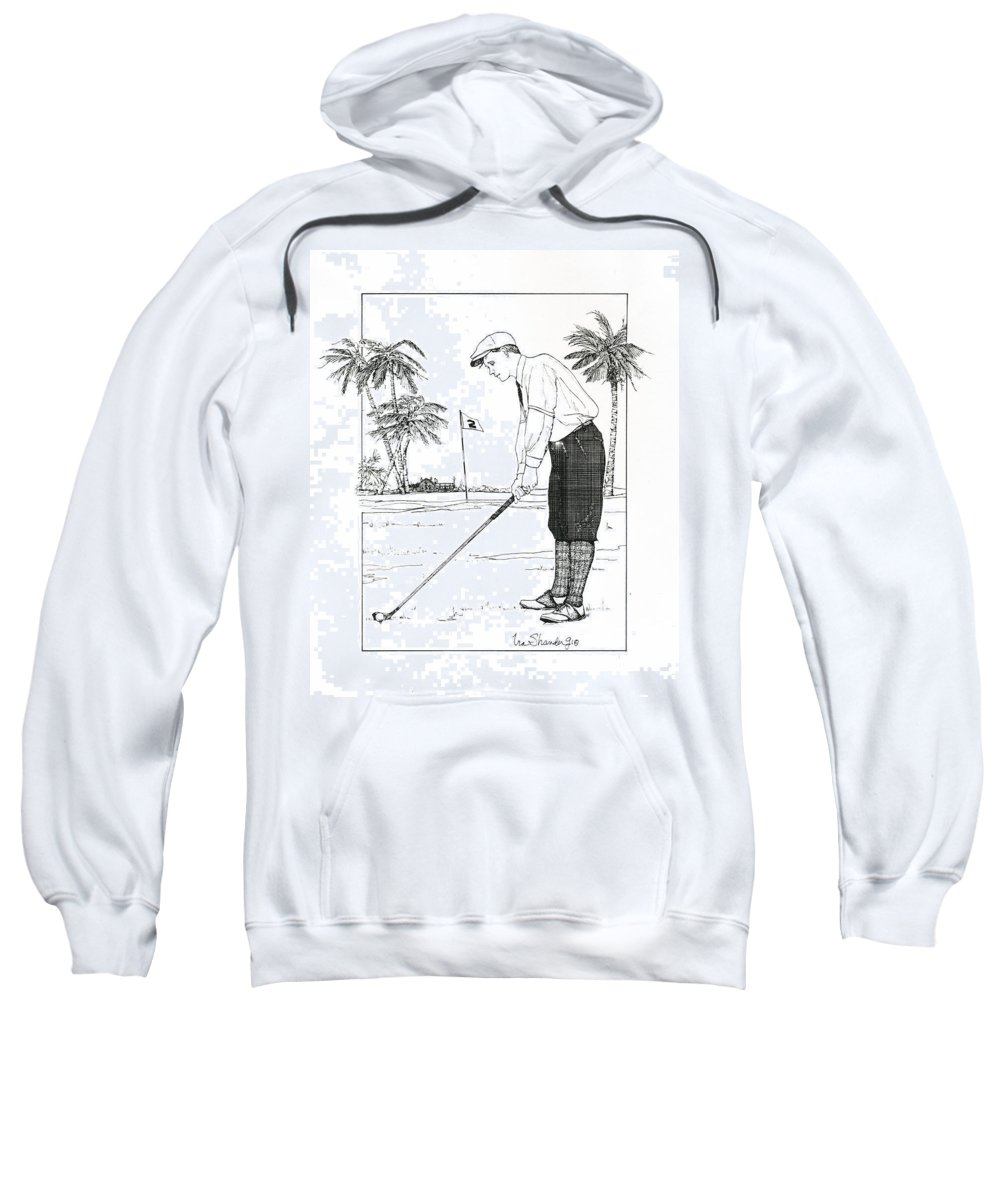 Golf Sweatshirt featuring the drawing 1920's Vintage Golfer by Ira Shander