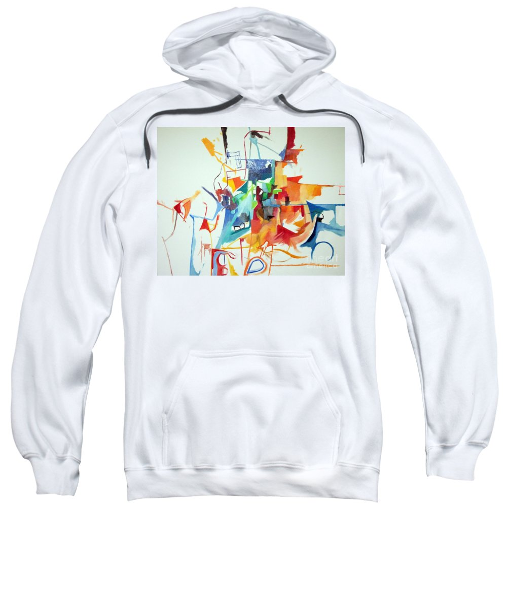 Torah Sweatshirt featuring the painting At The Age Of Three Years Avraham Avinu Recognized His Creator 1 by David Baruch Wolk