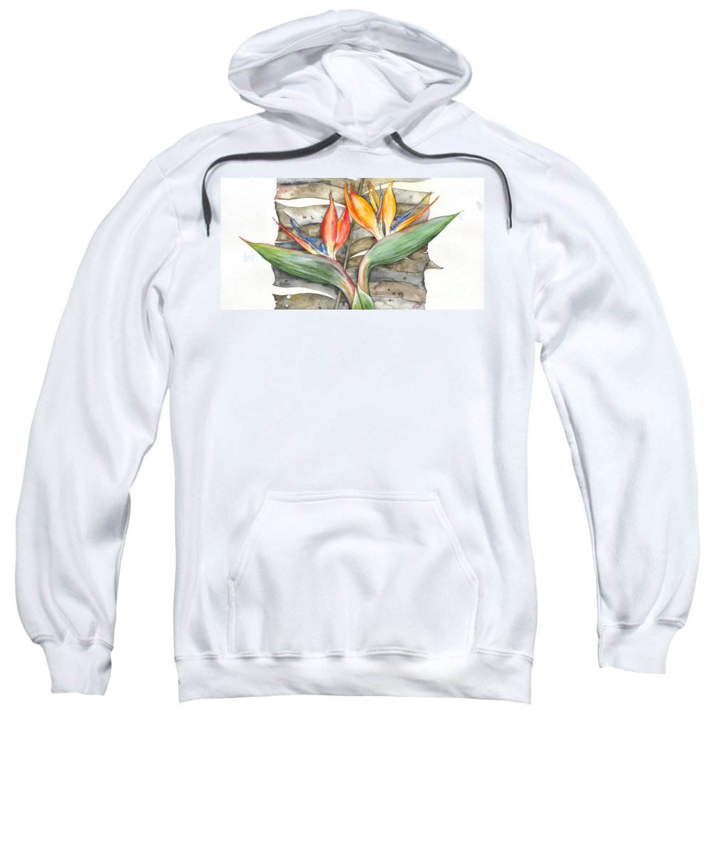 Strelitzia Sweatshirt featuring the painting Bird Of Paradise 04 Elena Yakubovich by Elena Yakubovich