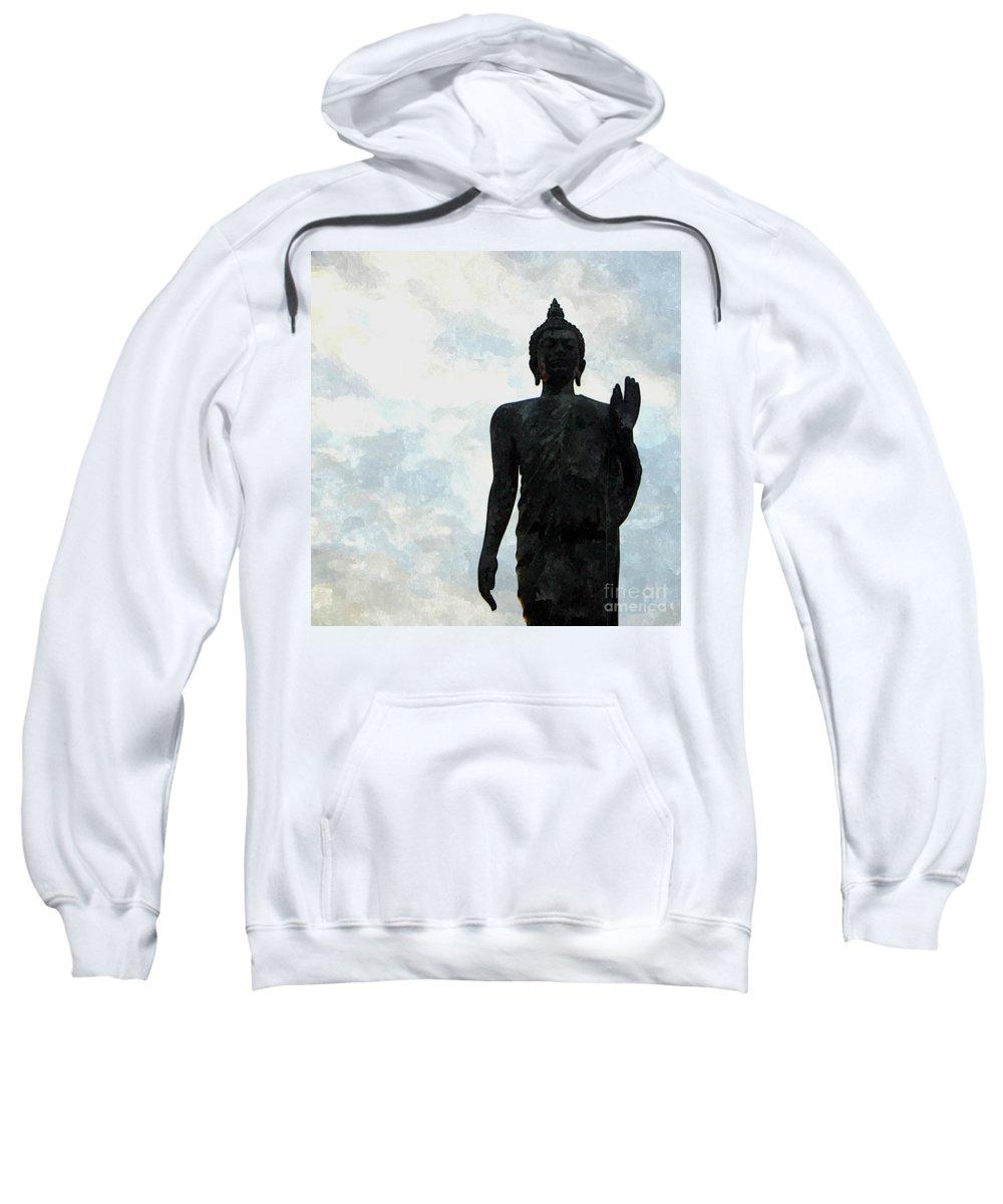Worshipping Buddha Sweatshirt featuring the painting Buddha 30 by Jeelan Clark