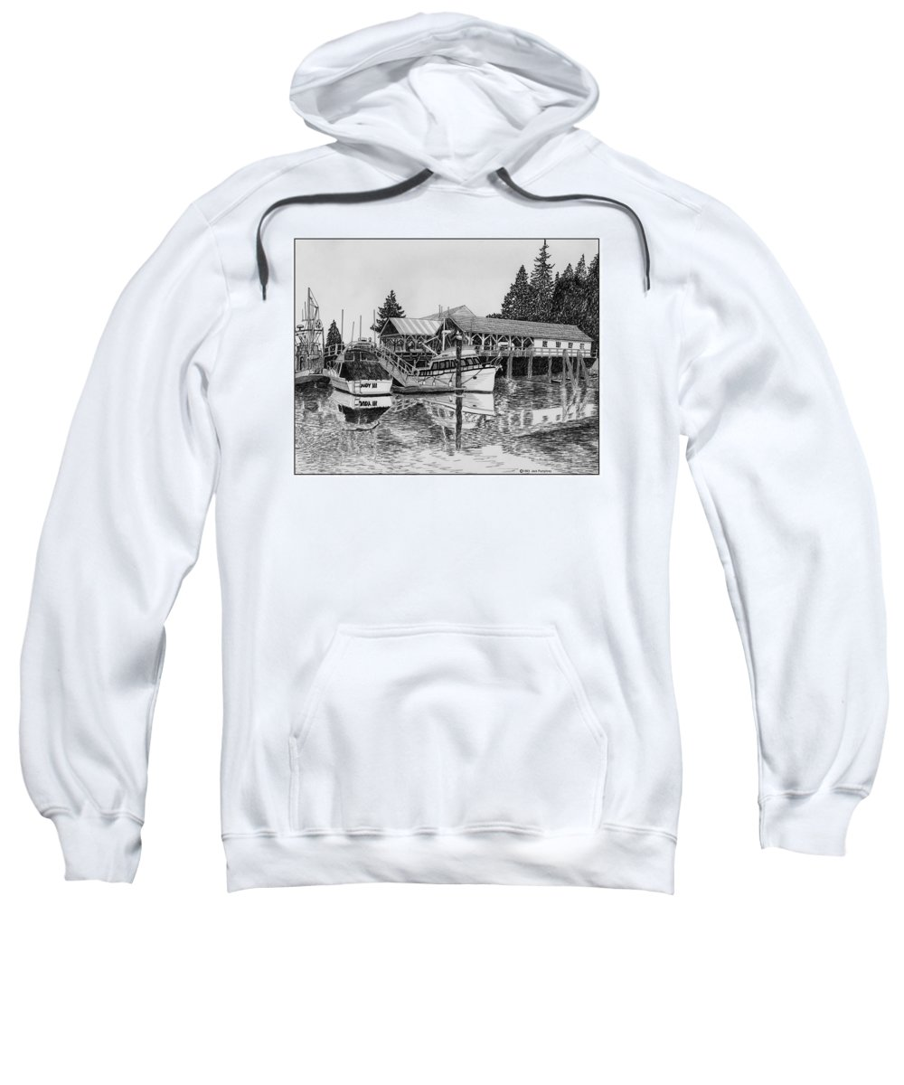 Net Sheds Sweatshirt featuring the drawing Net Shed Gig Harbor by Jack Pumphrey