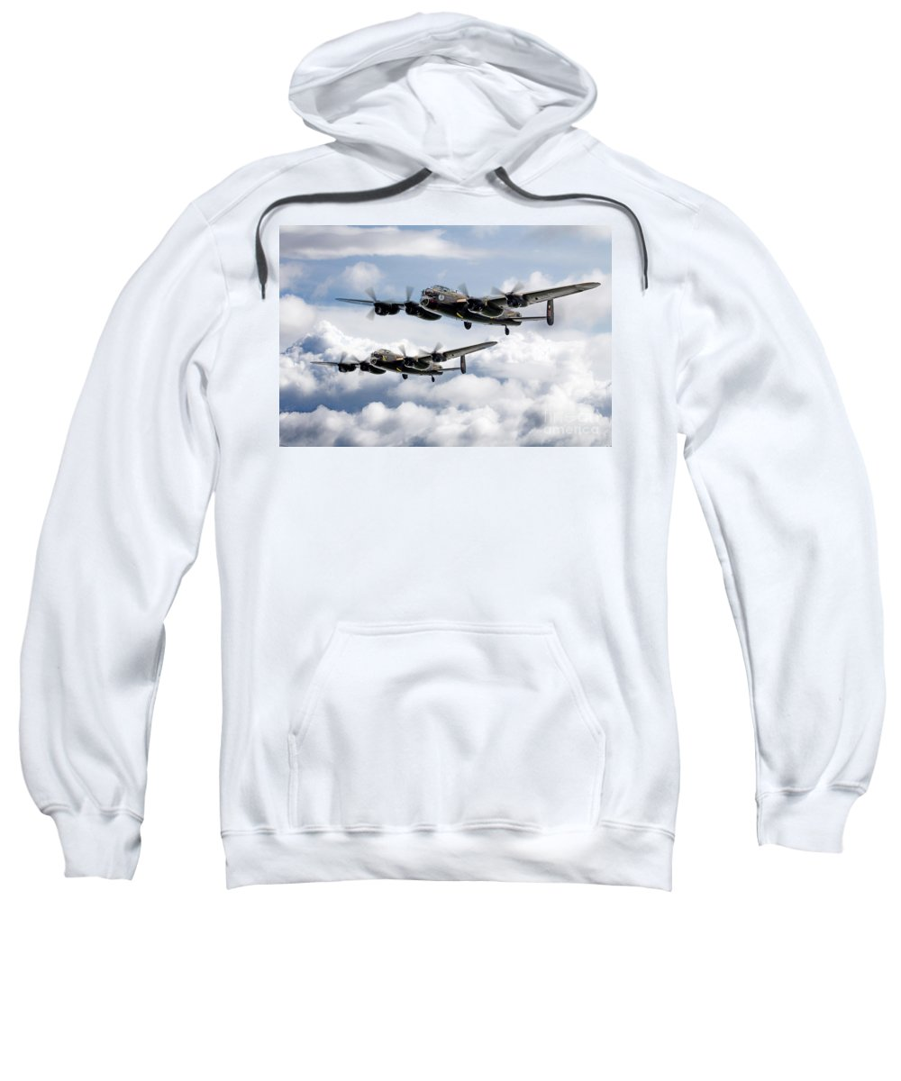 Avro Lancaster Sweatshirt featuring the digital art Flying Lancasters by J Biggadike