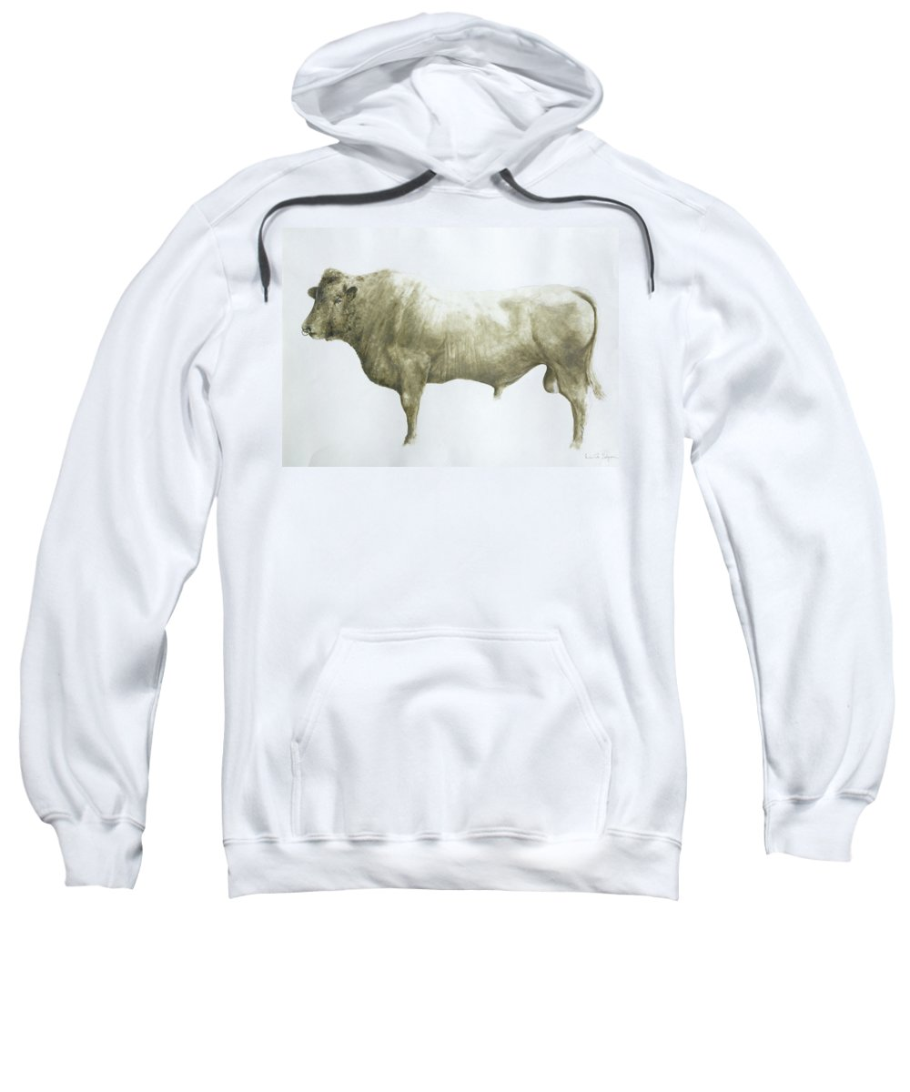Animal; Nose Ring Sweatshirt featuring the painting Islay Bull by Lincoln Seligman