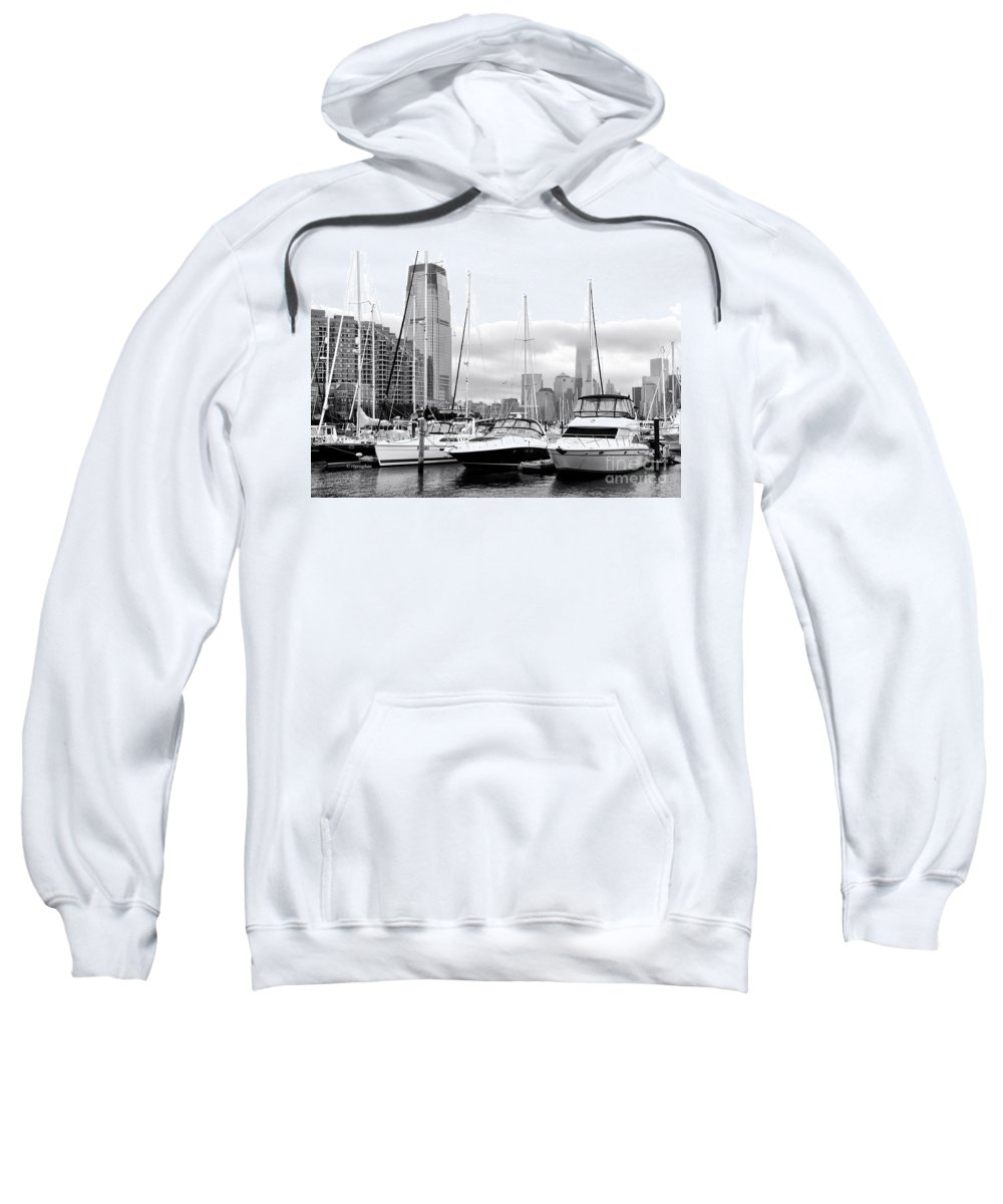 Marina New Jersey Sweatshirt featuring the photograph Marina In Black And White by Regina Geoghan