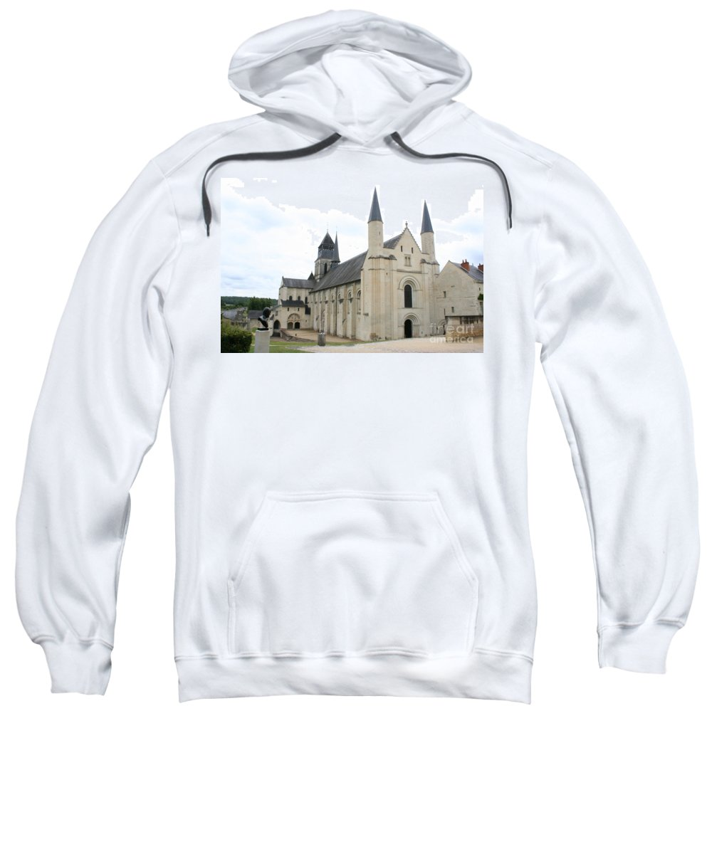 Cloister Sweatshirt featuring the photograph West Facade Of The Church - Fontevraud Abbey by Christiane Schulze Art And Photography