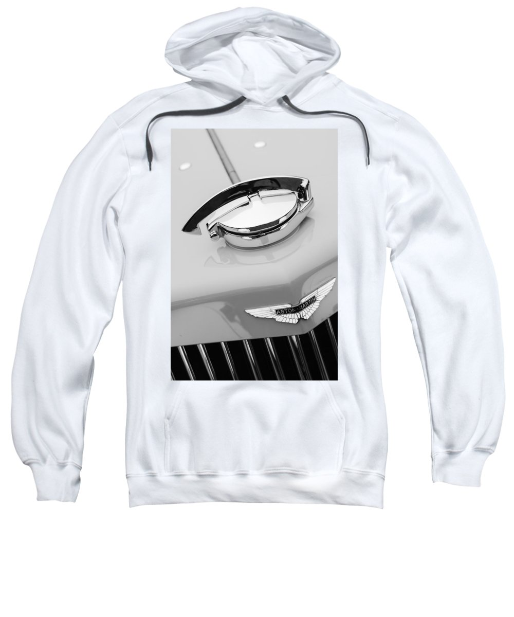 1939 Aston Martin 15-98 Abbey Coachworks Swb Sports Grille Emblem Sweatshirt featuring the photograph 1939 Aston Martin 15-98 Abbey Coachworks Swb Sports Grille Emblem by Jill Reger
