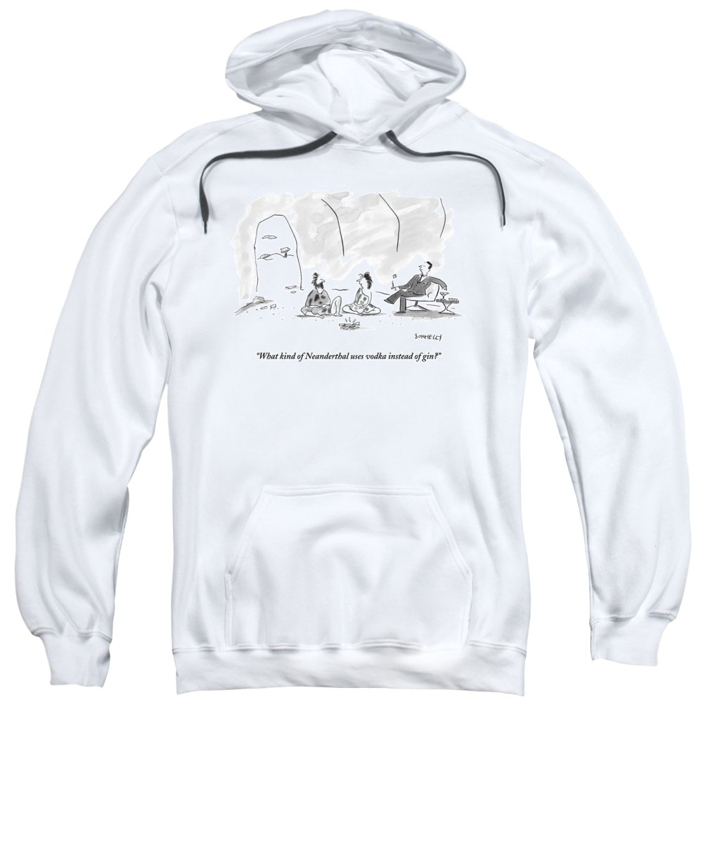 Cave Sweatshirt featuring the drawing A Caveman And Cavewoman Sit On The Floor by Liza Donnelly
