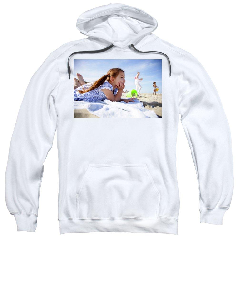 Adorable Sweatshirt featuring the photograph A Cute Little Hispanic Girl In A Summer by Modern Light