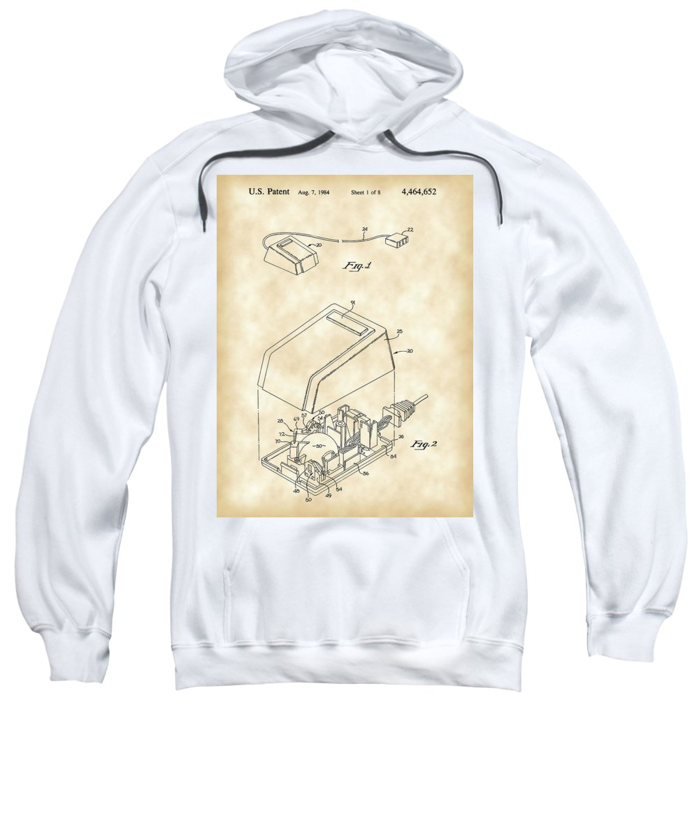 Apple Sweatshirt featuring the digital art Apple Mouse Patent 1984 - Vintage by Stephen Younts