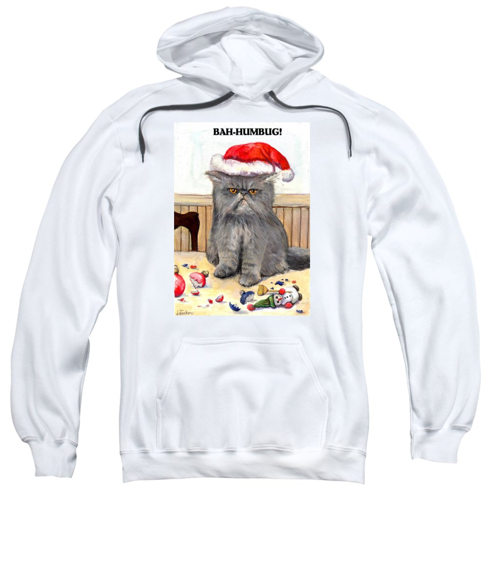 Cat Sweatshirt featuring the painting Bah-humbug by Donna Tucker