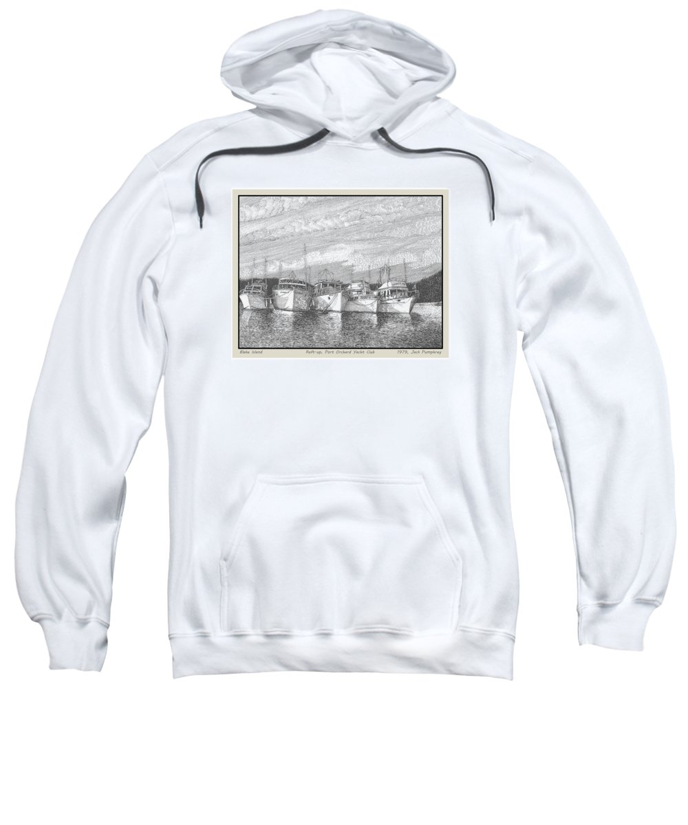 Yacht Portraits Sweatshirt featuring the drawing Northwest Raft Up by Jack Pumphrey