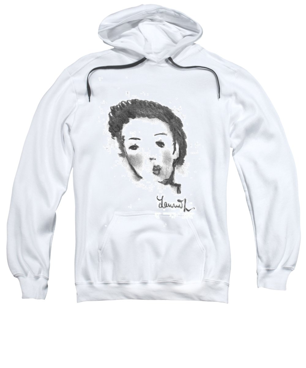 Woman Sweatshirt featuring the drawing Bubble Gum by Laurie Lundquist