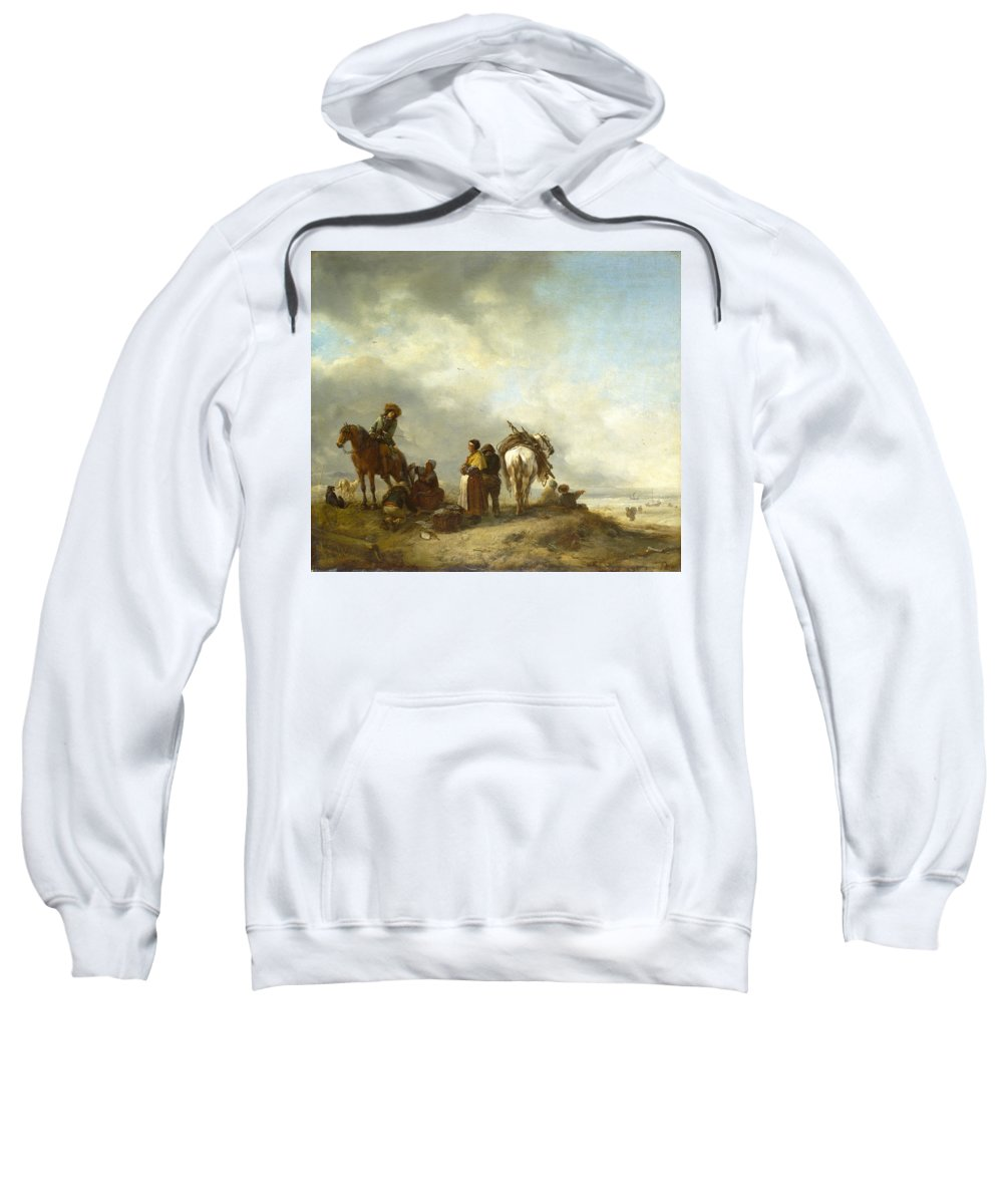 Philips Wouwerman Sweatshirt featuring the painting Seashore With Fishwives Offering Fish by Philips Wouwerman