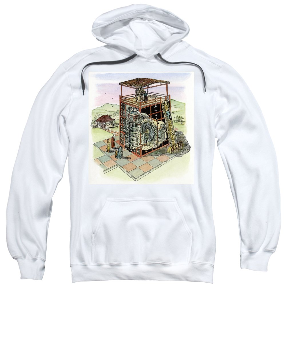 11th Century Sweatshirt featuring the drawing Chinese Astronomical Clocktower Built by Granger