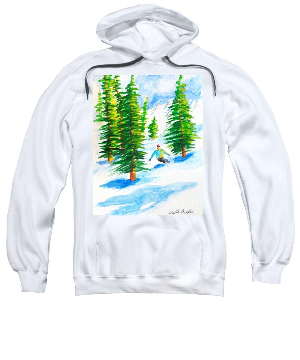 Powder Skiing Sweatshirt featuring the painting David Skiing The Trees by Walt Brodis