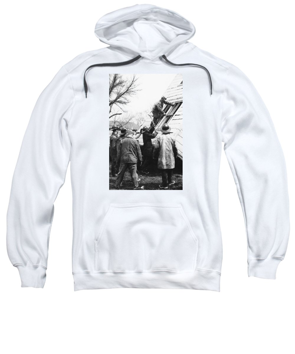 Film Noir Harry Morgan Jack Webb Allan Ladd Appointment With Danger 1951 Gas Explosion Aberdeen South Dakota Sweatshirt featuring the photograph Film Noir Harry Morgan Jack Webb Allan Ladd Appointment With Danger 1951 Gas Explosion Aberdeen Sd by David Lee Guss