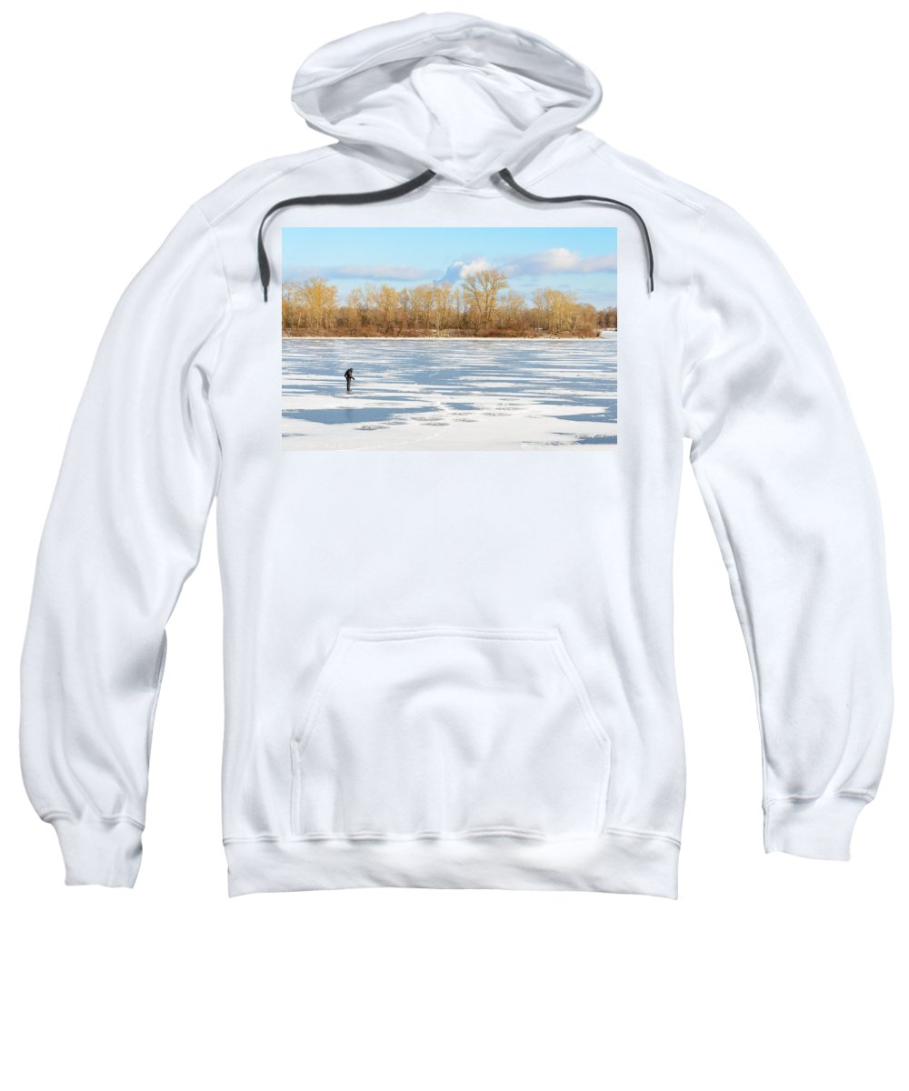 Dnieper Sweatshirt featuring the photograph Fisherman On The Frozen River by Alain De Maximy