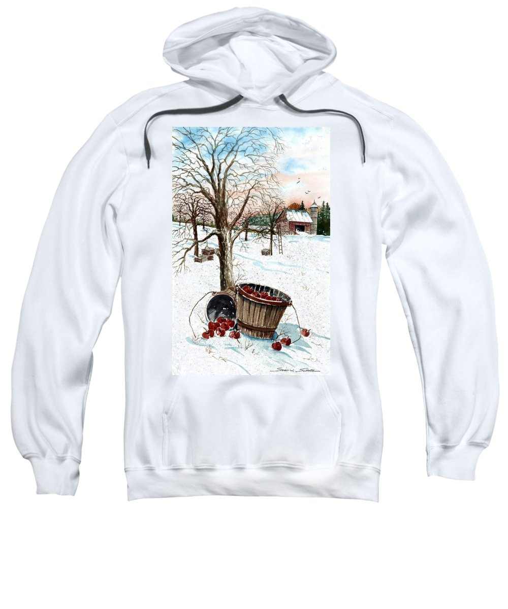 Forgotten Apples Sweatshirt featuring the painting Forgotten Apples by Steven Schultz